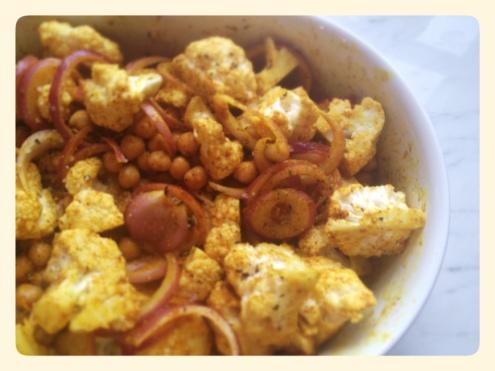 Roasted Cauliflower and Chick Peas