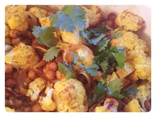 Roasted Cauliflower Chickpeas Onion Spices